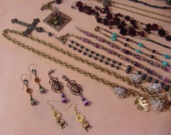 Nice Junk Jewelry Lot jeweler's supply art craft salvage supplies #16 destash handmade and vintage pieces earrings necklaces recycle items