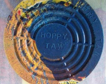 Official Hoppy Taw (R) Hopscotch Game Marker / Retro / Swirl of Colors / Summer Time Fun / Vintage Style / Since 1953 / Easter Basket