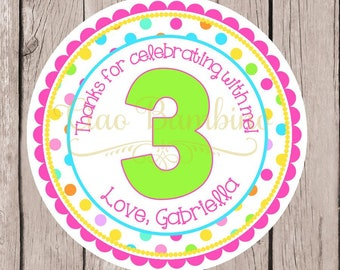 PRINTABLE Polka Dot Birthday Party Favor Tags / Print Your Own Personalized Favor Tags or Stickers / Add Any Age / You Print