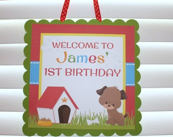 Puppy Party Door Sign / Puppy Welcome Sign / Puppy Birthday Party Sign / Pawty Door Sign / Puppy Birthday Party / Dog Door Sign/Dog Birthday