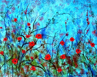 Red Poppies Against Aqua  - 8 x 10 Buy 2 get 1 FREE  by  Vadal