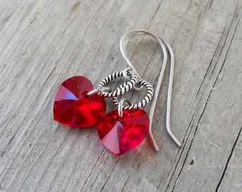 Bead Earrings - Dangle Earrings - Titanium Earrings - Hypoallergenic - Hypoallergenic Earrings - Heart Earrings - Swarovski Earrings