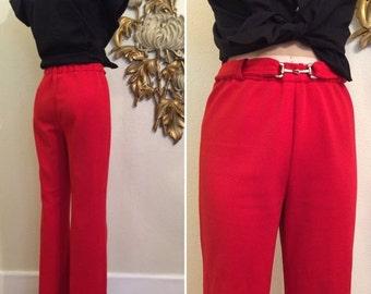 Fall sale 1960s pant cuffed pants red pants 1970s pants size medium vintage pants polyester pants high waist pants