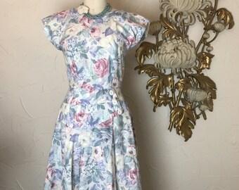 Fall sale 1980s dress vintage dress cotton dress size medium pastel dress 1950s style dress full skirt dress cap sleeve dress 27 waist