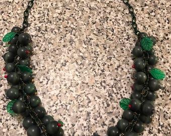 1940s necklace fruit necklace Miriam Haskell wood necklace celluloid necklace wwii necklace Bakelite era