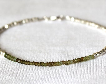 Green Tourmaline and Bali Beads Bracelet/Faceted Rondelles/Ombre Effect Jewelry/Handmade Jewelry