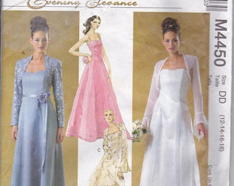 McCalls 4450 Misses Wedding Prom Evening Formal Mother of Bride Brides Maid Gown Dress Sewing Pattern Sizes 12-18 Out of Print UNCUT