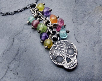 day of the dead necklace, sugar skull necklace, skull pendant necklace, sugar skull pendant, Anne Choi jewelry, gemstone necklace