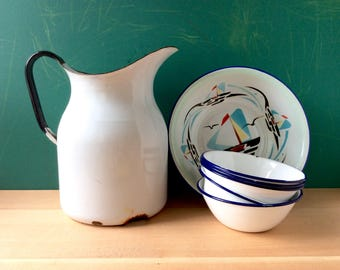 Vintage Enamelware Jug and Bowls. Enamel Pitcher. White and Black / Blue. Rustic Metal Bowls. Farmhouse Decor.