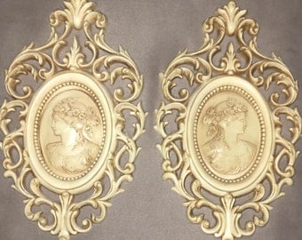 2 Vintage 12x7 Ivory Burwood Prod Co Ornate Victorian Women Wall Decor / Accents