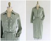 vintage 1950s light sage green button up shirtwaist dress | vtg 50s long sleeve dress | x-small