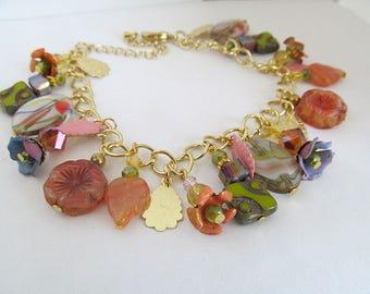 Colorful Charm Bracelet, Bohemian Summer Bracelet, Orange & Pink Floral Bracelet, Glass Bead Bracelet, Tropical Colors, moonlilydesigns