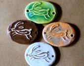 3 Handmade Ceramic Beads - Sweet Set of Leaping Hare Bracelet Beads - Rustic Links - Handmade Supplies