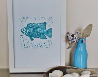 FISH lino cut block PRINT - Original Art - turquoise linocut marine nautical seaside beach decor - First Edition