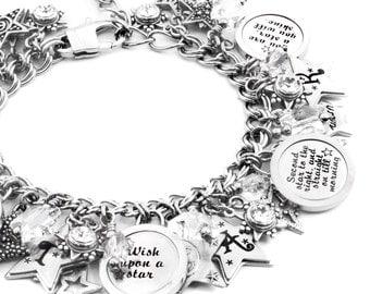 Stars Charm Bracelets, Stars Quote charm bracelet, Silver Star Bracelet in stainless steel