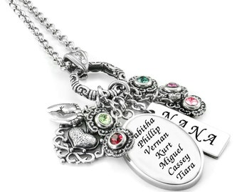 Personalized Grandma Necklace - Grandmother Necklace - Personalized Grandmother Gift - Mother's Day Gift for Grandma - Birthstones