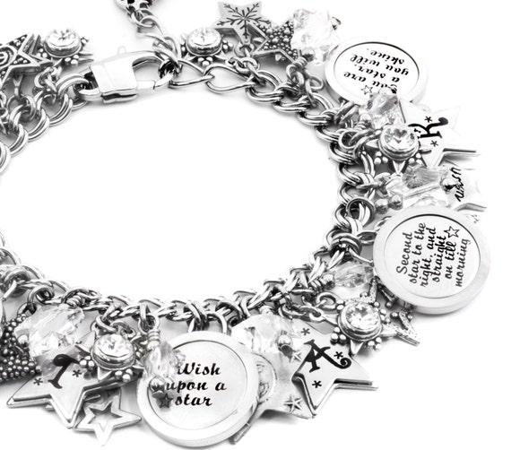 Silver Stars Charm Bracelets, Twinkle Twinkle Little Star, Star Charms, Silver Star Bracelet, Star Charm Bracelet, Star Jewelry