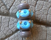 Turquoise Gray Dot Pair Lampwork Beads by Cherie Sra R114 Earring pair Flamework Glass Beads Turquoise Gray Stacked Dot Pair Lampwork Beads