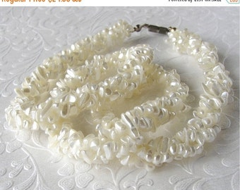 20% SALE Bohemian Chic Beach Bride Mother Of Pearl Torsade Necklace MOP Multi Strand Chip Necklace Wedding 1970s Vintage Jewelry Cream White