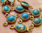 November Sale - 8 Vintage Plastic Cabochons in Bracelet Settings - Dark Turquoise Matrix  (44-8B-8)