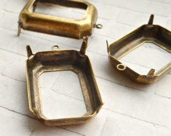 Brass Settings - 25x18 Octagon Open Backed for Jewels or Cabs (13-9-4)