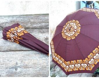 Vintage 1960s/1970s Ethnic chic umbrella