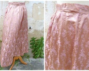 Vintage Antique 1890s French Victorian  dusty pink silk brocade skirt  timeworn size S/M