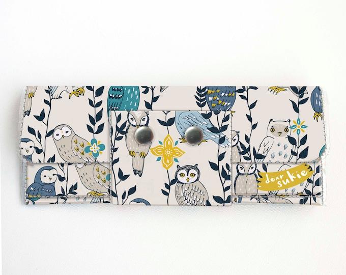 Handmade Vinyl Long Wallet - Owls in Flowers / vegan large wallet, clutch, zipper, card case, vinyl wallet, snap wallet, owl, bird, floral