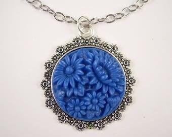 Vintage Blue Glass Flower Necklace