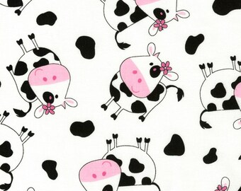 Timeless Treasures, Tossed Cows on white, cotton fabric,  1 yard