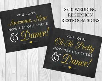 Get Out There and Dance Printable 5x7, 8x10 Black and Gold Wedding Reception Women's and Men's Restroom Signs - Instant Download
