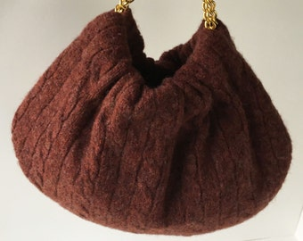 Christmas Ugly Sweater Purse - Handmade Rust Wool Handbag with Gold Chain Handles - Ready to Ship