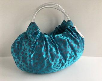 Turquoise Vines Hobo Purse - Handmade Handbag with Silver Wood Handles