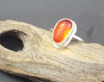 Orange Sea Glass Ring Amberina Sea Glass Jewelry Orange Amberina Sea Glass Ring Sterling Silver Stacking Ring Mini Ring Size 8 - R-125