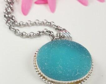 Sea Glass Jewelry Sea Glass Necklace Aqua Sea Glass Necklace Beach Glass Jewelry - N-466