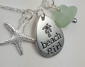 Sea Glass Necklace Sea Glass Jewelry Aqua Sea Glass Pendant Beach Girl Necklace Sea Glass Jewelry N-520