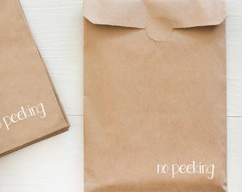 kraft paper bag with white foil for gifts and treats - no peeking