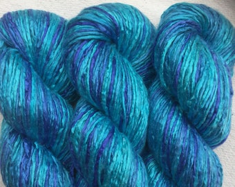 Silk Yarn Hand Dyed worsted weight - Intense Turquoise (8)