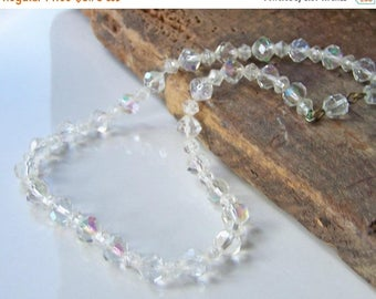 MARCH MADNESS SALE 1/2 Off Reduced Vintage Czech Crystal Beaded Necklace, Vintage Necklace, Bridal Necklace, Costume Jewelry, Necklace, Gift
