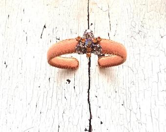 Thin Caramel Adjustable Cuff with Rhinestones