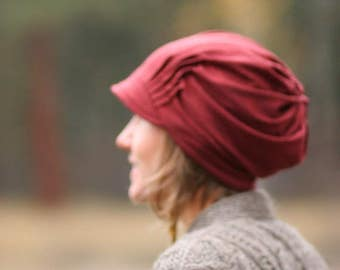 SALE Slouch Hat - HEATHERED AUTUMN Red