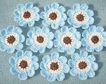 10 thread crochet applique flowers in brown ecru blue --  2552