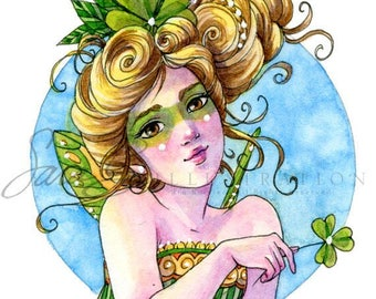 Irish Fairy Art Print - Shamrock Pixie Canery