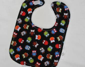 Black Owls Fabric and Chenille Bib