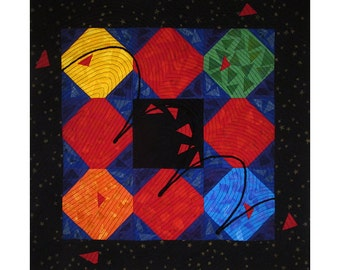 Colorful Abstract Art Quilt, Fabric Wall Hanging, Fiber Art, Traditional Snowball Block
