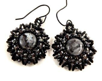Black and Gray Earrings Larvakite Earrings Gemstone Jewelry Beadwoven Earrings Hand Woven Jewelry Seed Bead Jewelry