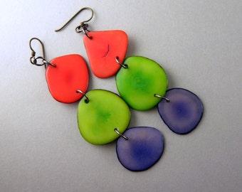 Orange, Greenery, Grape Shoulder Duster Trio of Tagua Nut Eco Earrings with Free USA Shipping #taguanut #ecofriendlyjewelry