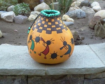 Painted Gourd - South Western Style - Kokopelli
