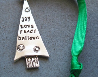 Personalized Christmas Tree Ornament / Hand stamped Christmas Ornament / Custom Holiday Ornament