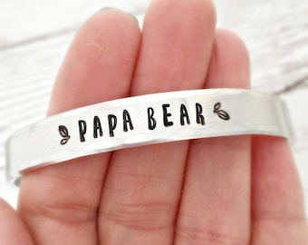 Personalized Mens Bracelet - Papa Bear - Fathers Day present for husband dad or grandpa- hammered mens cuff bracelet - gift for him - mens